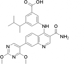 Benzoic acid, 3-[[3-(aminocarbonyl)-7-(2,4-dimethoxy-5-pyrimidinyl)-4-quinolinyl]amino]-5-(1,2-dimethylpropyl)- WO 2012061557